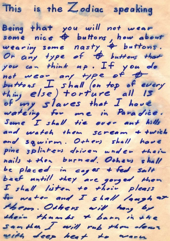 zodiac killer letters poison pen pal the zodiac s 11492 | Zodiac LittleListLetter July 26 1970 Page1